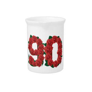 Zahl 90 oder 90.-Geburtstags-Rote Rosen Getränke Pitcher