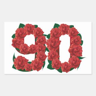 Zahl 90 oder 90.-Geburtstags-Rote Rosen Rechteckiger Aufkleber
