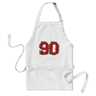 Zahl 90 oder 90.-Geburtstags-Rote Rosen Schürze
