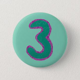 Zahl Dreiknopf Runder Button 5,7 Cm