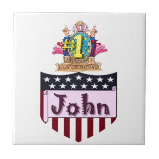 Zahl eine John Keramikfliese