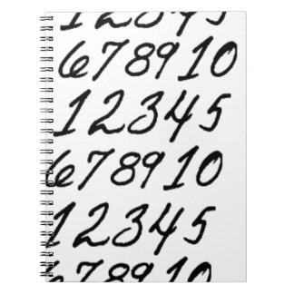 Zahlen auf Wiederholung Spiral Notizblock