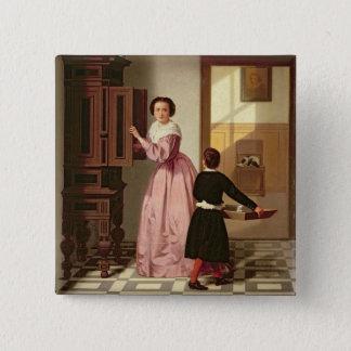 Zahlen in einem Laundryroom, 1864 (Öl auf Quadratischer Button 5,1 Cm