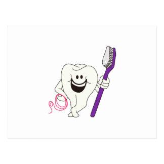 Zahn mit Bürste Postkarte