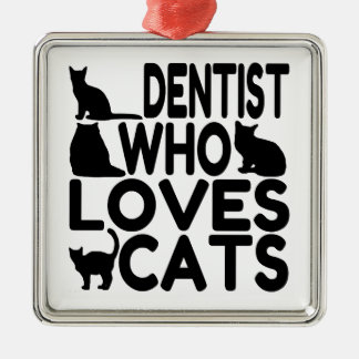 Zahnarzt der Liebe-Katzen Silbernes Ornament