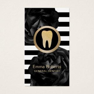Zahnarzt-modernes Streifen-Schwarz-mit Visitenkarte
