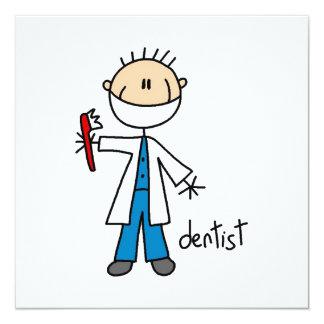 Zahnarzt-Strichmännchen Quadratische 13,3 Cm Einladungskarte