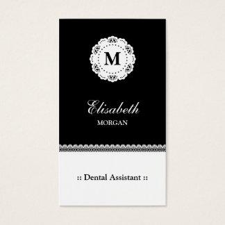 Zahnarzthelfer-Schwarz-weißes Spitze-Monogramm Visitenkarte