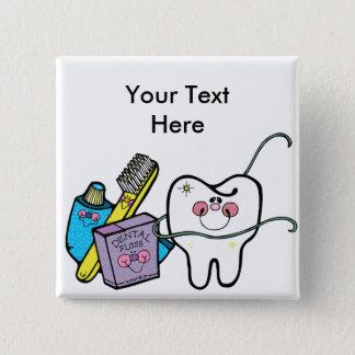Zahnmedizinisches Material für Zahnarzt-Tag am 6. Quadratischer Button 5,1 Cm