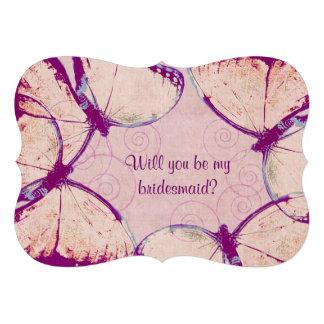 zarte rosa flatternde Schmetterlinge Einladungskarte