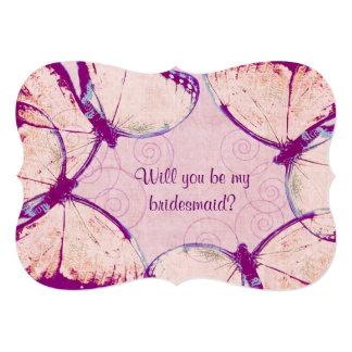 zarte rosa flatternde Schmetterlinge 12,7 X 17,8 Cm Einladungskarte