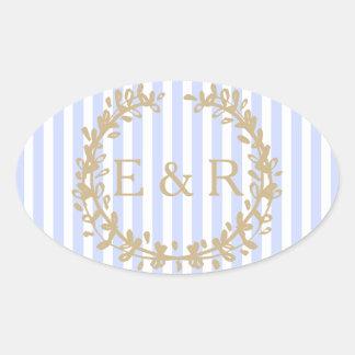 Zarter Baby-Blau-blasser Himmelblauer Ovaler Aufkleber