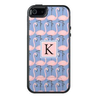 Zartes Monogramm des Flamingo-Muster-| OtterBox iPhone 5/5s/SE Hülle