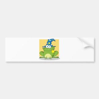 Zauberer-Frosch mit einem magischen Stab im Mund Autoaufkleber