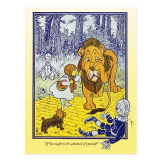 Zauberer von Oz: Dorothy trifft den feigen Löwe Postkarte