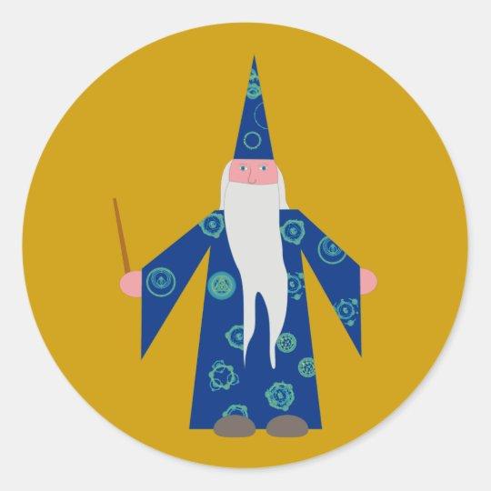 zauberer wizard runder aufkleber