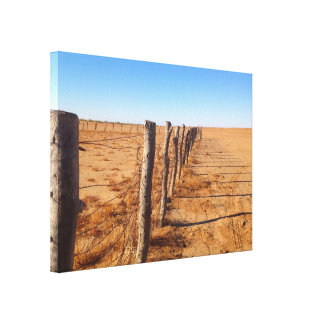 Zaun im Wüsten-Leinwanddruck Leinwanddruck
