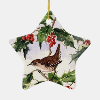 Zaunkönig in einer Stechpalme Bush Keramik Stern-Ornament
