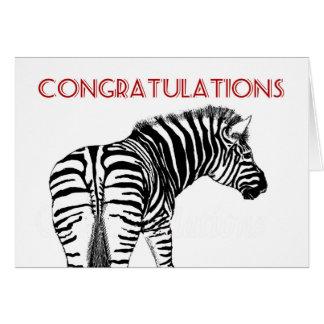 Zebra abgeschieden auf Weiß, Glückwünsche Karte