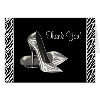 Zebra-Absatz-Schuhe danken Ihnen Karten