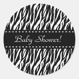 Zebra-Babyparty-bunte Ordnung Runder Sticker