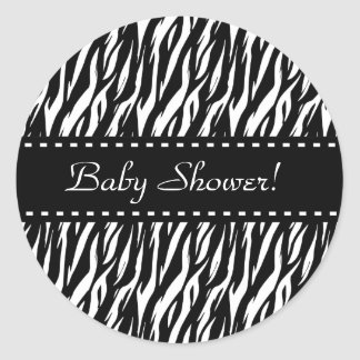 Zebra-Babyparty-bunte Ordnung Runder Aufkleber