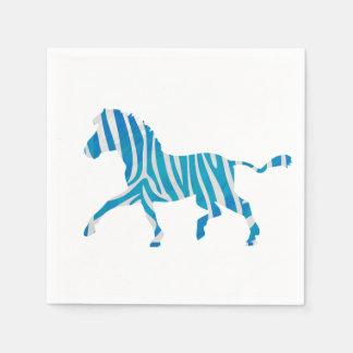 Zebra-blaue und weiße Silhouette Servietten