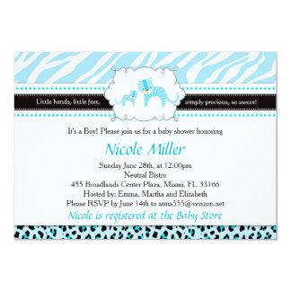 Zebra-blaues Gepard-Leopard-Einladungs-Baby Showe Karte