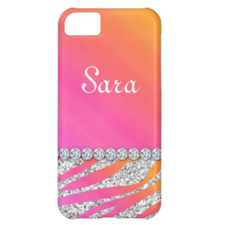 Zebra Bling iPhone 5 Fall-Abdeckungs-niedliches or