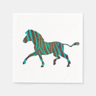 Zebra Brown und aquamarine Druck-Silhouette Papierserviette