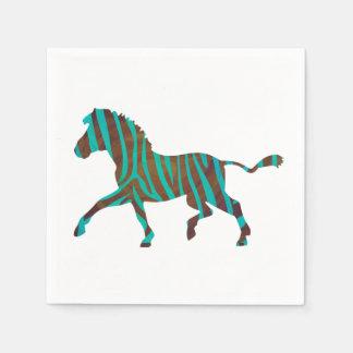 Zebra Brown und aquamarine Druck-Silhouette Papierservietten