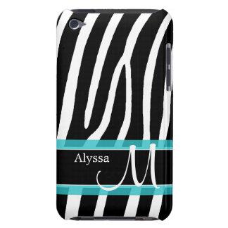 Zebra-Druck-blaues personalisiertes iPod Touch Case-Mate Hülle