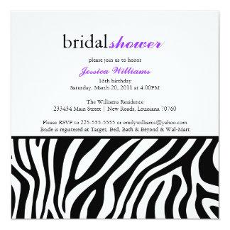 Zebra-Druck-Brautparty Quadratische 13,3 Cm Einladungskarte
