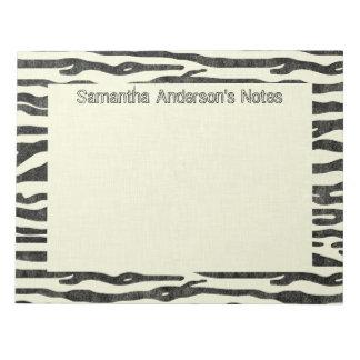Zebra-Druck-elegante personalisierte schwarze Notizblock