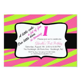 Zebra-Druck-erste Geburtstags-Einladung 12,7 X 17,8 Cm Einladungskarte