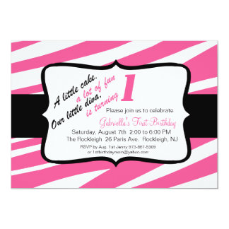 Zebra-Druck-erste Geburtstags-Einladung Karte