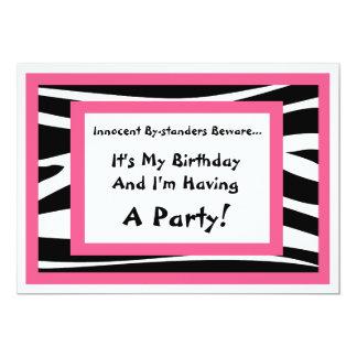 Zebra-Druck-Geburtstags-Party Einladung