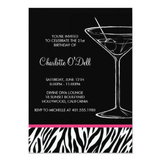 Zebra-Druck-Martini-Geburtstags-Einladung 12,7 X 17,8 Cm Einladungskarte