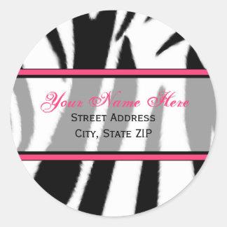 Zebra-Druck mit rosa Adressen-Etiketten Runder Aufkleber