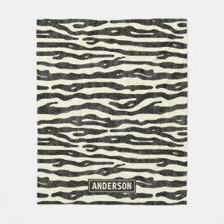 Zebra-Druck-Schwarz-beige Name-Tier-Muster Fleecedecke