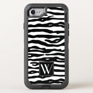 Zebra-Druck-Schwarz-weiße Streifen-stilvolles OtterBox Defender iPhone 8/7 Hülle