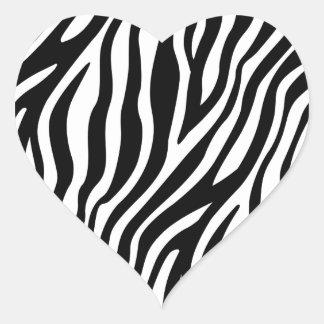 Zebra-Druck-Schwarzweiss-Streifen-Muster Herz-Aufkleber