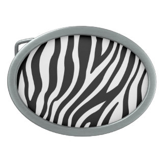 Zebra-Druck-Schwarzweiss-Streifen-Muster Ovale Gürtelschnallen