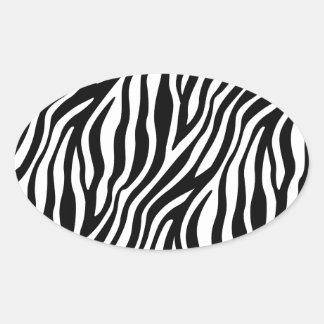 Zebra-Druck-Schwarzweiss-Streifen-Muster Ovaler Aufkleber