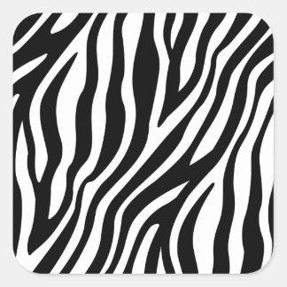 Zebra-Druck-Schwarzweiss-Streifen-Muster Quadratischer Aufkleber