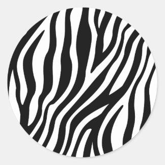 Zebra-Druck-Schwarzweiss-Streifen-Muster Runder Aufkleber