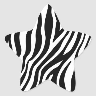 Zebra-Druck-Schwarzweiss-Streifen-Muster Stern-Aufkleber