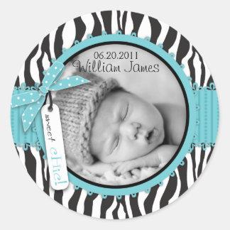 Zebra-Druck-Türkis-Akzent-Geburts-Mitteilung