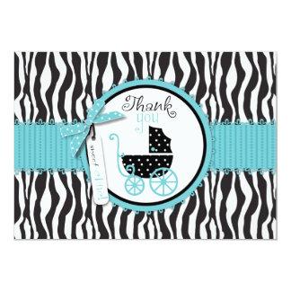 Zebra-Druck und Kinderwagen danken Ihnen 12,7 X 17,8 Cm Einladungskarte
