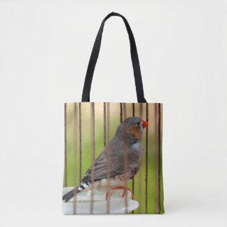 Zebra-Fink-Vogel im Käfig Tasche